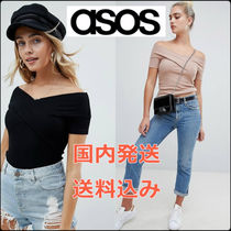 送料関税込*ASOS* DESIGN off shoulder fitted top