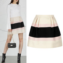 18-19AW V1221 STRIPED CREPE COUTURE MINI SKIRT