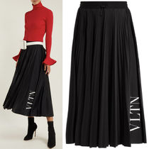 18-19AW V1222 VLTN PLEATED JERSEY SKIRT