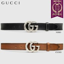 【正規品保証】GUCCI★18秋冬★LEATHER BELT WITH DOUBLE G