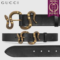 【正規品保証】GUCCI★18秋冬★LEATHER BELT WITH SNAKE BUCKLE