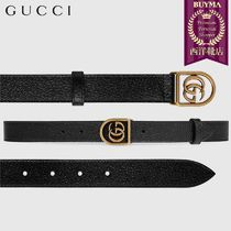 【正規品保証】GUCCI★18秋冬★LEATHER BELT W/ FRAMED DOUBLE G