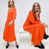 国内発送ASOS/Warehouse wrap front spot midi dress in orange