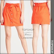 【国内発送・関税込】TOPSHOP★Button-front linen-blend skirt