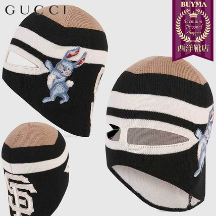 GUCCI ニットキャップ・ビーニー 【正規品保証】GUCCI★18秋冬★WOOL MASK WITH SF GIANTS PATCH