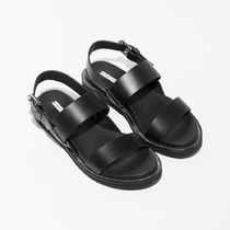 ★&Other Stories★Diagonal Strap Leather Sandals★ブラック★