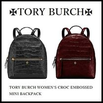 TORY BURCH ◆クロコ型押しリュックサック◆Croc Embossed