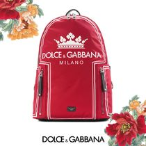 Dolce&Gabbana (ドルガバ) Backpack 王冠ロゴ リュックサック 赤