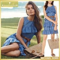 【日本未入荷☆新作】MICHAEL KORS Ruffled Chambray Dress