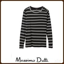 MassimoDutti♪RIBBED STRIPED T-SHIRT WITH BUTTONHOLE DETAIL