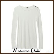 MassimoDutti♪RIBBED T-SHIRT WITH BUTTONS DETAIL