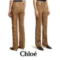 【Chloe】Straight-leg python-print leather trousers