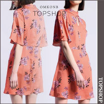 【国内発送・関税込】TOPSHOP★Floral High Neck Skater Dress