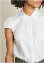 off to a good start-up cap sleeve blouse in white