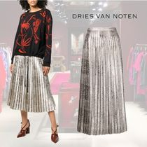 【18AW】★Dries Van Noten★feather-printed trousers