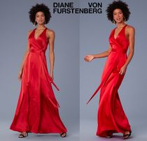 DVF★主役の赤★Sleeveless Floor-Length Satin Wrap Dress