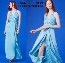 DVF★綺麗色ブルー★Sleeveless Floor-Length Satin Wrap Dress