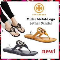セール 新作 人気 Tory Burch Miller Metal-Logo Leather Sandal