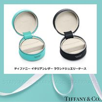 [Tiffany] ティファニー Calfskin Leather Round Jewelry Case