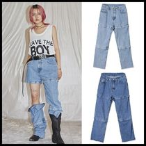 ☆OPEN THE DOOR☆ cut-off pointed denim pants 2色