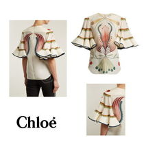 【Chloe】High-neck graphic-print fluted silk top
