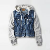 American Eagle Outfitters(アメリカンイーグル) ダウンジャケット・コート [AEO] [Women] Cotton blend multi-fabric half-hooded jacket