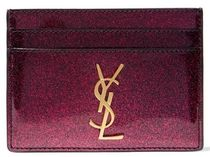 ★関税負担★SAINT LAURENT★GLITTERED PATENT CARDHOLDER