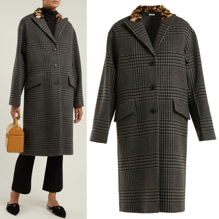 MM591 GLEN CHECK WOOL COAT