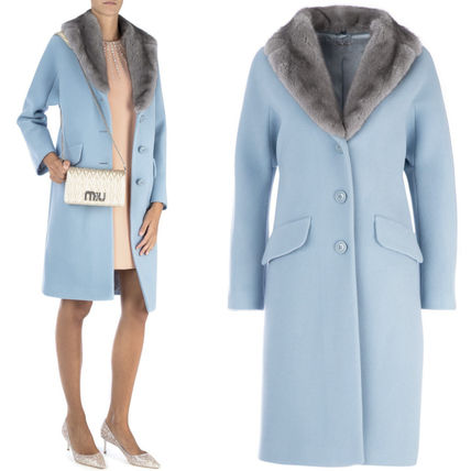 MM595 ANGORA BLEND WOOL COAT WITH MINK FUR COLLAR
