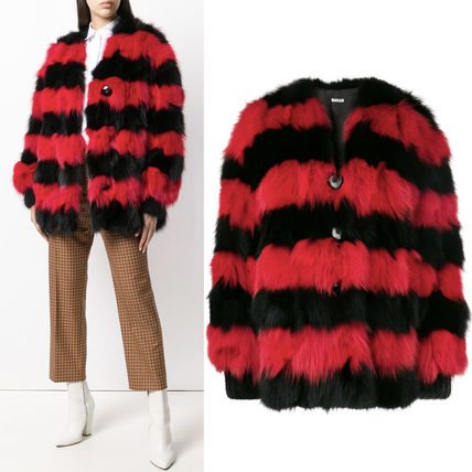 MM596 STRIPED FOX FUR COAT