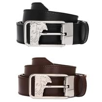VERSACE(ヴェルサーチェ) ベルト ☆Versace Collection☆Medusa Logo Open Buckle Leather Belt