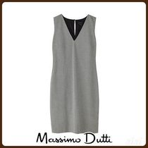 MassimoDutti♪HOUNDSTOOTH COTTON DRESS WITH TIE FRONT