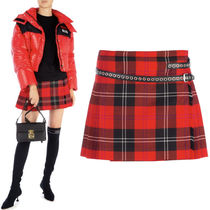 MM615 PLAID WOOL & SATIN MINI SKIRT