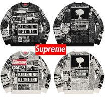 Supreme  Newsprint Sweater 18 FW  WEEK 0