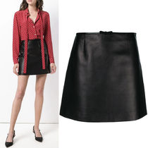 MM621 LAMB LEATHER MINI SKIRT WITH BOW