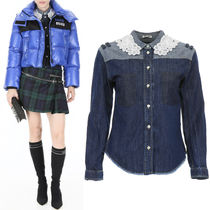 MM622 DENIM SHIRT WITH MACRAME LACE