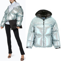 PR1222 HOODED DOWN JACKET IN METALLIC FABRIC