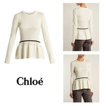 【Chloe】Peplum-hem striped-detail sweater