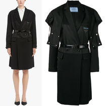 PR1236 WOOL/SATIN/NYLON GABARDINE COAT WITH DETACHABLE HOOD