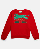 【GUCCI】18AW新★タイガー&ロゴプリントスェット/RED送料込