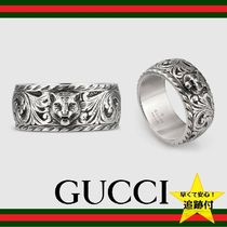 ★追跡有【GUCCI】Thin silver ring with feline head★