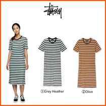 最新作!!18-19AW☆ STUSSY ☆AMINA STRIPED RIB DRESS