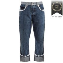 SALE▼Broderie-anglaise trimmed boyfriend ジーンズ