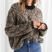 """& Other Stories"" Leopard Knit Sweater Beige"