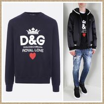 新作【Dolce &Gabbana】D&G Royal Love print スウェット BLACK