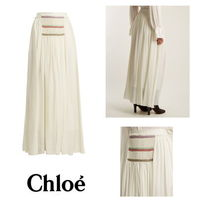 【Chloe】Pleated silk-georgette skirt