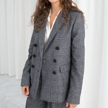 """& Other Stories"" Wool Blend Plaid Blazer Gray"