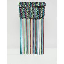 ★ASOS★ DESIGN multi coloured tassel clutch bag