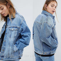 国内発送ASOS DESIGN denim girlfriend jacket lightwash blue