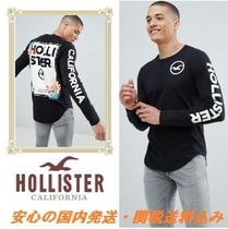 Hollister colour change floral logo long sleeve top in black